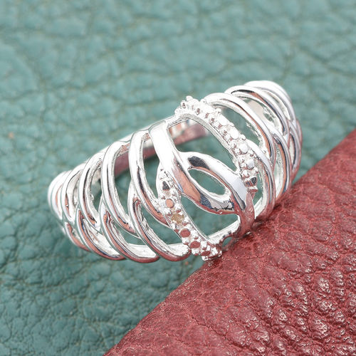 Designer Inspired Diamond Ring in Sterling Silver