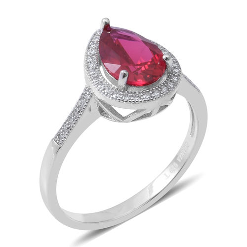 ELANZA Simulated Ruby (Pear 10X7mm), Simulated Diamond Ring