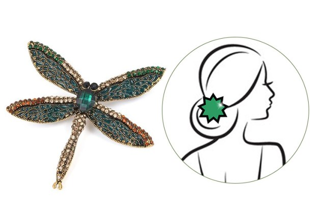 Austrian Crystal, Simulated Emerald Enameled Dragonfly Brooch