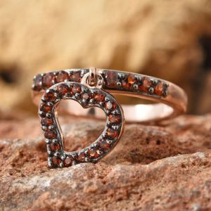 0.75 Ct Mozambique Garnet Heart Charm Ring in Rose Gold Plated Silver