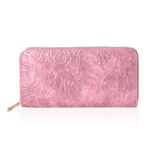 Pink Colour Golden Roses Embossed Dusty Rode Wallet With RFID