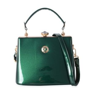 Boutique Collection High Glossed Vintage Style Green Tote Bag