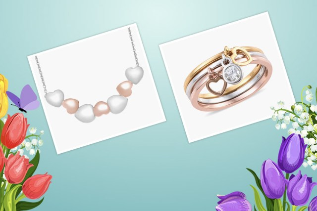 Products in image (Left to Right): Love Hearts Necklace with 18 Inch Chain in Two Tone Silver Platinum and Rose Gold Plated 8.67 grams and 3 Piece Set J Francis Made with Swarovski Zirconia Stacker Band Ring in Sterling Silver 4.56 Grams