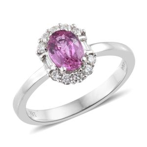 LIANA Pink Sapphire and Diamond Half Halo Ring in 18K White Gold