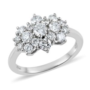 RHAPSODY Diamond Cluster Boat Ring in 950 Platinum