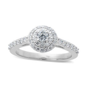 RHAPSODY Diamond Halo Ring in 950 Platinum