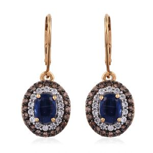 Himalayan Kyanite and Cambodian Dangle Earrings in Gold Plated Sterling Silver