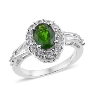 Diopside and Cambodian Zircon Halo Ring in Platinum Plated Sterling Silver