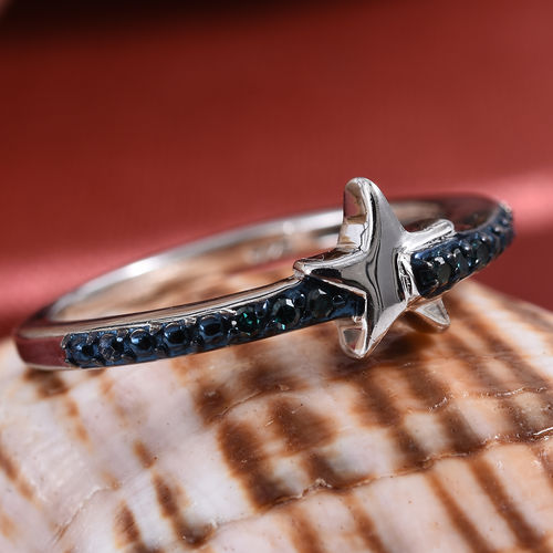 Blue Diamond Star Stacking Ring in Platinum Plated Sterling Silver
