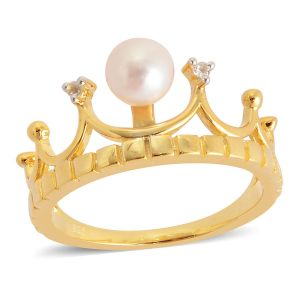 Japanese Akoya Pearl, White Topaz Crown Ring in Yellow Gold Overlay Sterling Silver