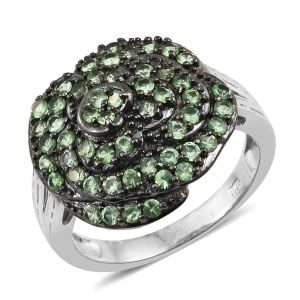 Very Rare Tsavorite Garnet Flower Ring in Black Rhodium and Platinum Overlay Sterling Silver