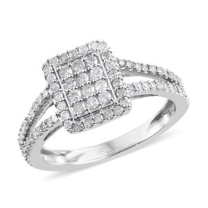 0.50 Carat Diamond Cluster Ring in 9K White Gold 2.5 Grams