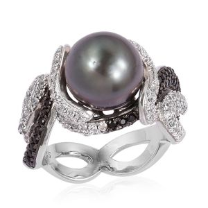 Tahitian Pearl, Natural White Cambodian Zircon and Boi Ploi Black Spinel Ring in Black Rhodium Plated Sterling Silver
