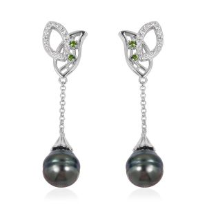 Tahitian Baroque Pearl, Russian Diopside and Natural White Cambodian Zircon Earrings in Rhodium Plated Sterling Silver