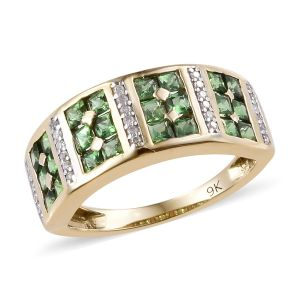 Princess Cut Tsavorite Garnet and Diamond Eternity Ring in 9K Gold