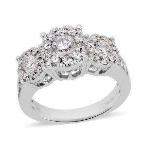 14K White Gold Diamond Ring 2.000 Ct