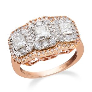 2 Carat Princess and Round Brilliant Cut Diamond Ring in 14K Rose Gold