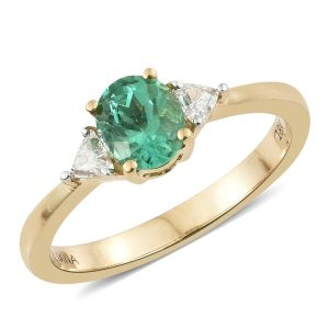 ILIANA Emerald and Diamond 3 Stone Ring