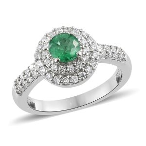 RHAPSODY Kagem Zambian Emerald and Diamond Halo Ring 950 Platinum