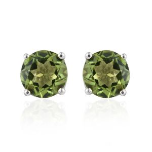 Hebei Peridot Solitaire Stud Earrings in Platinum Platinum Sterling Silver