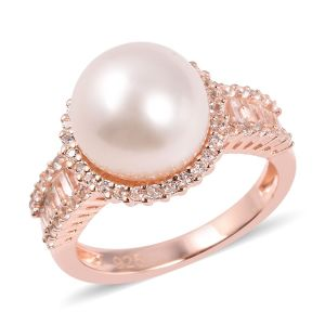 White South Sea Pearl and White Topaz Halo Ring in Rose Gold Plated Sterling Silver