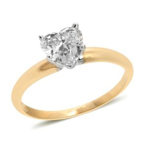 1 Carat Diamond Solitaire Heart Ring in 14K Gold 1.83 Grams EGL Certified