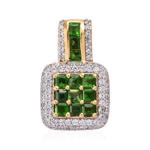 Russian Diopside, Natural Cambodian Zircon Pendant in yellow Gold Vermeil Sterling Silver