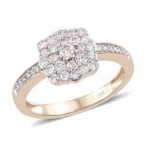 0.50 Carat Diamond Cluster Ring in 9K Yellow Gold