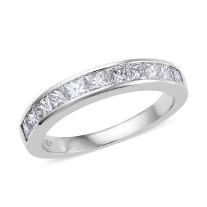 RHAPSODY Supreme Finish 1 Carat Diamond Princess Cut Half Eternity Band Ring