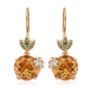 Brazilian Citrine and Diamond Spring Hook Earrings in Gold Plated Sterling Silver