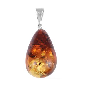 Amber Solitaire Pendant in Rhodium Plated Sterling Silver