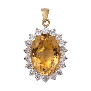 Citrine and Natural Cambodian Zircon Halo Pendant in Gold Plated Sterling Silver