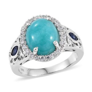 Peruian Amazonite, Cambodian Zircon and Kanchanaburi Sapphire Ring in Sterling Silver