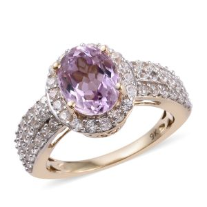 Kunzite and Cambodian Zircon Halo Ring in 9K Gold