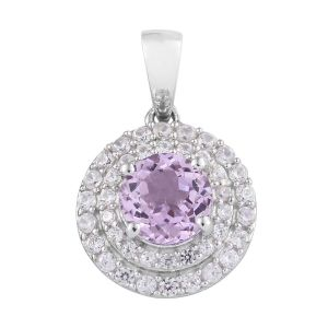 Kunzite and Cambodian Zircon Halo Pendant in Platinum Plated Sterling Silver