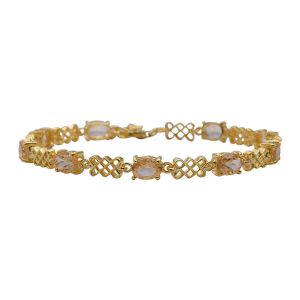 Citrine Bracelet (Size 7.5 with Extender) in Yellow Gold Overlay Sterling Silver