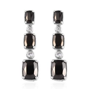 Elite Shungite, Natural Cambodian Zircon Earrings in Platinum Overlay Sterling Silver