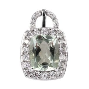 Prasiolite, Natural Cambodian Zircon Pendant in Platinum Overlay Sterling Silver