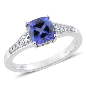 AAA Tanzanite and SI GH Diamond Ring in 18K White Gold