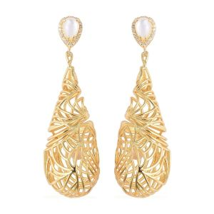 Isabella Sea Rhyme Collection White Mother of Pearl and White Zircon Drop Earrings in Silver