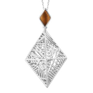 Isabella Sea Rhyme Collection 0.90 Ct Tigers Eye Windbell Rhombus Pendant With Chain in Silver