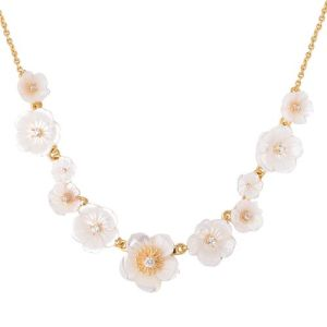 White Mother of Pearl and White Zircon Silver Necklace in Gold Plated