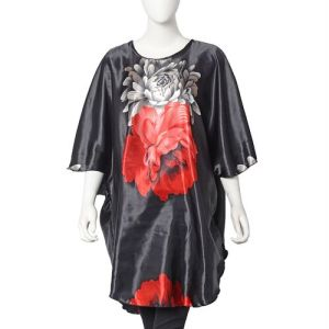 Designer Inspired Peony Print Kaftan Free size in Black Colour
