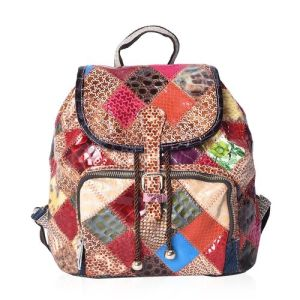 100% Genuine Leather Multi Colour Blocking Backpack with External Zipper Pocket