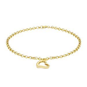 9K Yellow Gold Heart Charm Bracelet