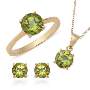 Chinese Peridot Ring, Earring and Pendant with Chain Set