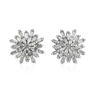 Diamond Snowflake Cluster Stud Earrings