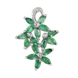 Brazilian Emerald and Diamond Floral Cluster Pendant
