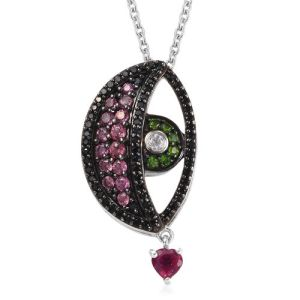 Boi Ploi Black Spinel and Multi Gemstone Eye Pendant with Chain