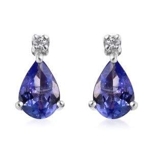 AA Tanzanite and Diamond Stud Earrings in 9K White Gold